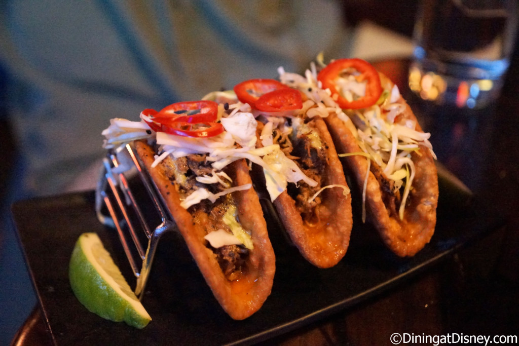 Kahlua Pork Tacos with Cabbage and Pickled Vegetables at Trader Sam's Grog Grotto