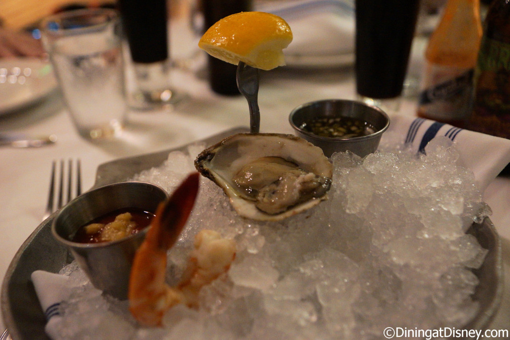 Blue Point oysters on the half shell and wild caught Baja cocktail shrimp at The BOATHOUSE in Disney Springs