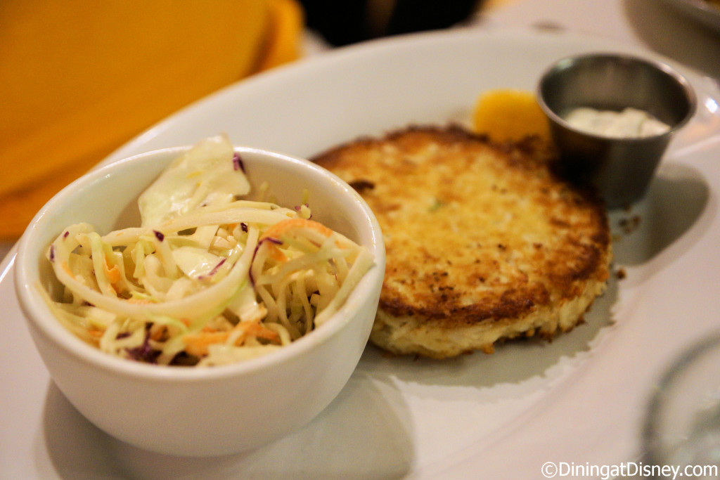 Jumbo Lump Crab Cake with coleslaw and tartar sauce at The BOATHOUSE in Disney Springs