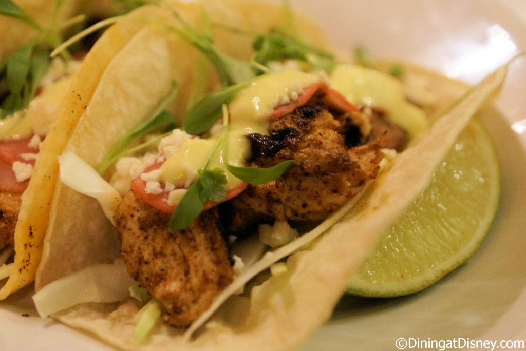 A closer look at the  grilled line caught Florida Mahi-Mahi tacos at The BOATHOUSE in Disney Springs