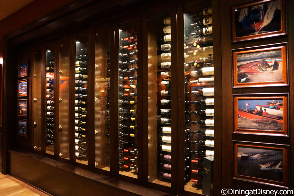 The wine cellar is located in the third dining room at The BOATHOUSE in Disney Springs