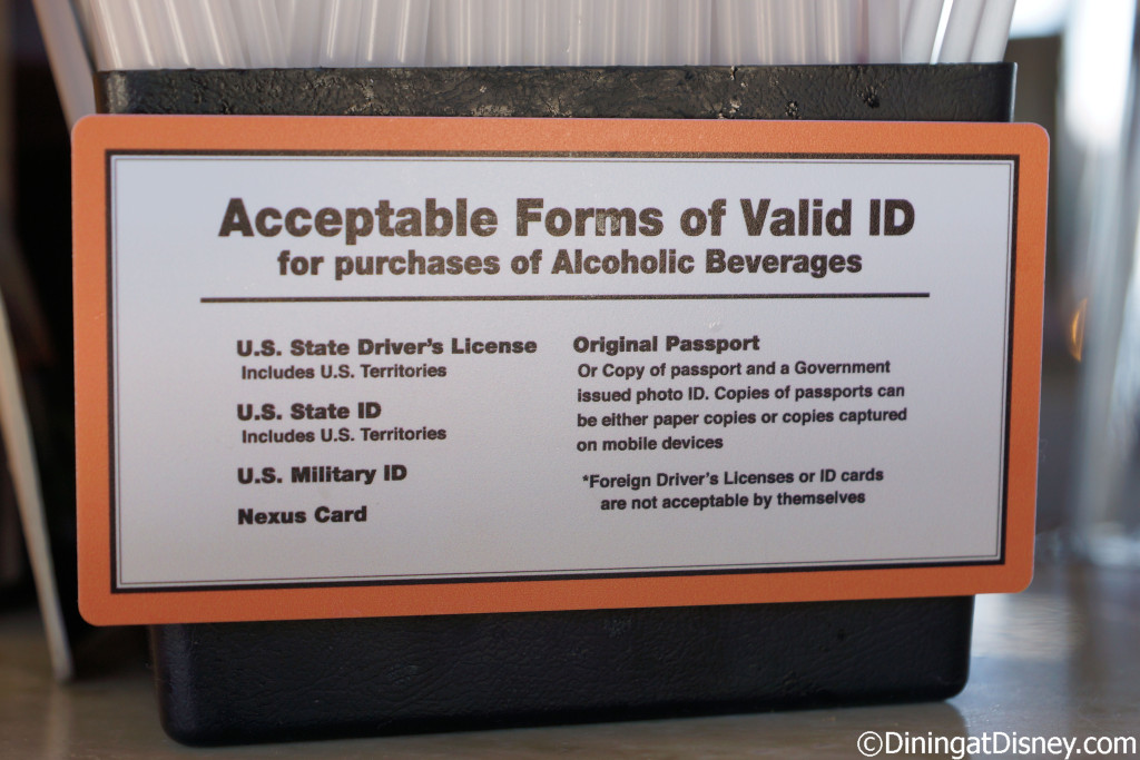 Dockside Margaritas acceptable forms of valid ID for purchasing alcoholic beverages in the state of Florida