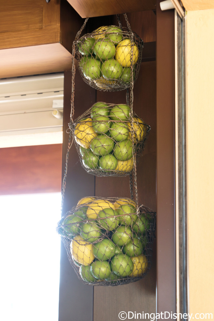 Baskets of fresh lemons and limes are located at the  at Dockside Margaritas