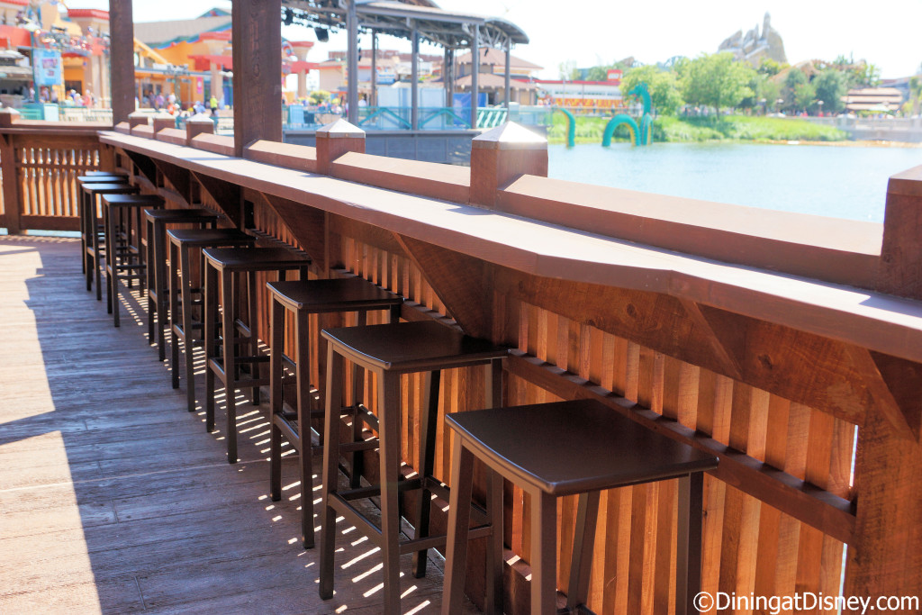 Bar stools that face the water at Dockside Margaritas give a great view of Disney Springs