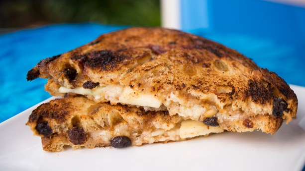 Canadian cheddar and apples on cinnamon raisin bread at Taste Track in Epcot