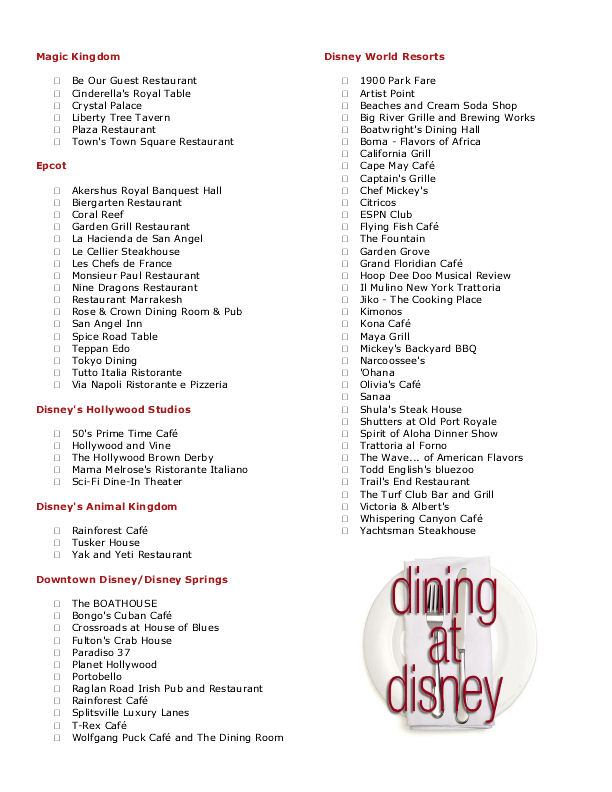 Dining at Disney's Disney dining table-service checklist 2015