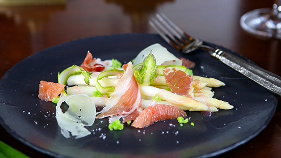 Chilled White Asparagus with Serrano ham at Steakhouse 55 [photo by: Disney]