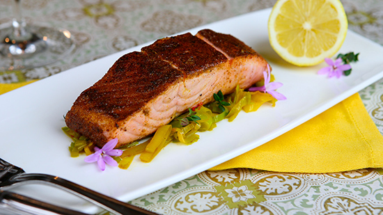 Moroccan-spiced King Salmon at Steakhouse 55
