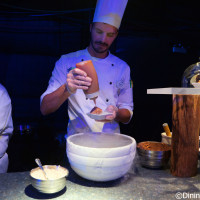 Liquid Nitro Chocolate Almond Truffle with Warm Whiskey Caramel being made at Chew Lab - 2015 Epcot Food and Wine Festival preview