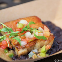 Crispy pork belly with black beans, tomato and cilantro (gluten free) from Brazil at 2014 Epcot Food and Wine Festival