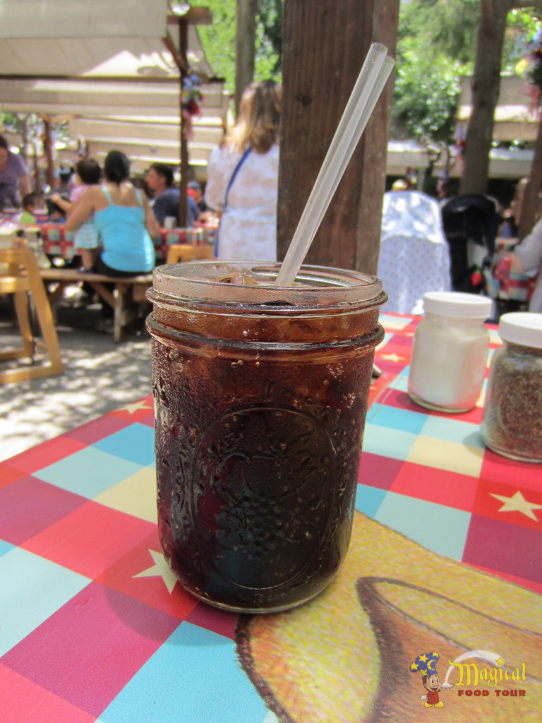 Soft drinks are served in mason jars