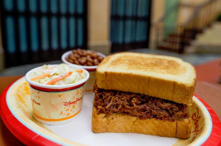 Pull pork sandwich at Tortuga Tavern in Magic Kingdom