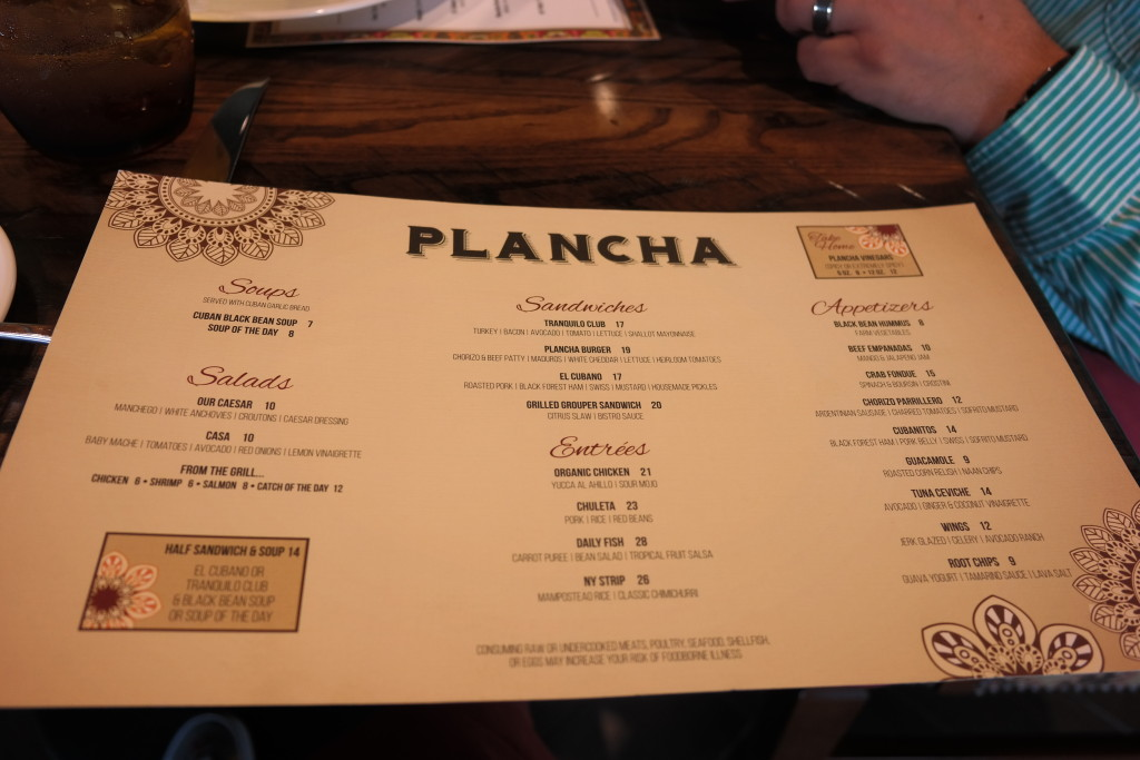 The menu at Plancha in Four Seasons Orlando