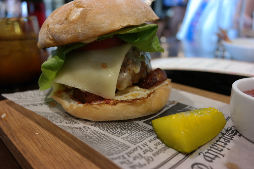 An up-close look at the Plancha burger at Plancha in Four Seasons Orlando