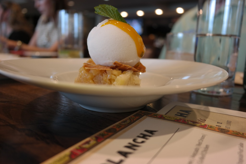 Pina with coconut helado and passion fruit at Plancha in Four Seasons Orlando
