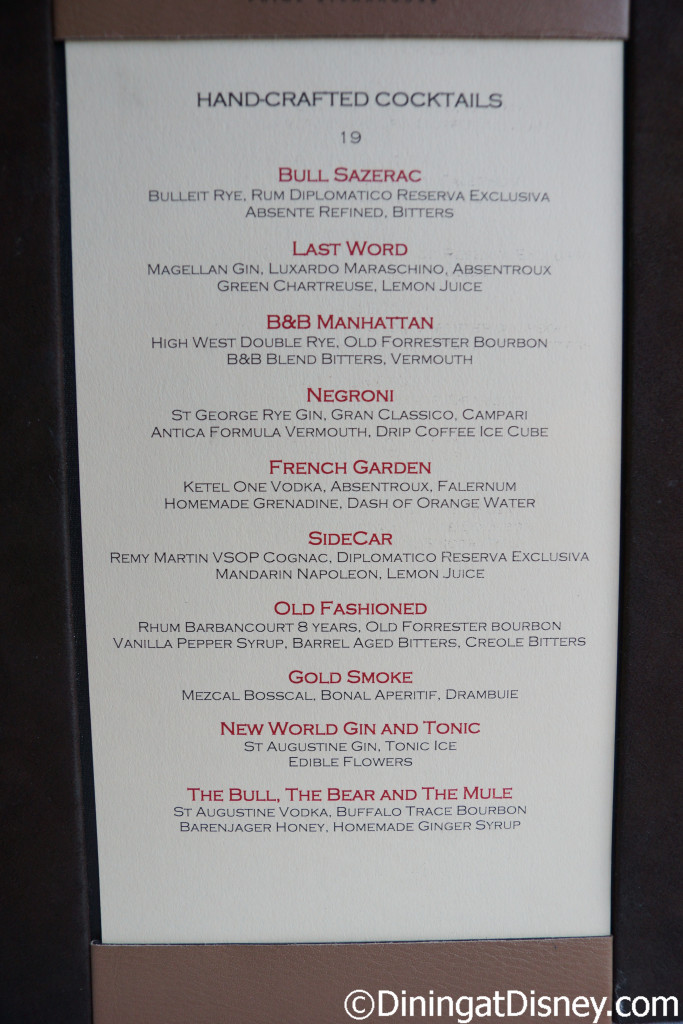 Bull and Bear's cocktail menu - Waldorf Astoria Orlando