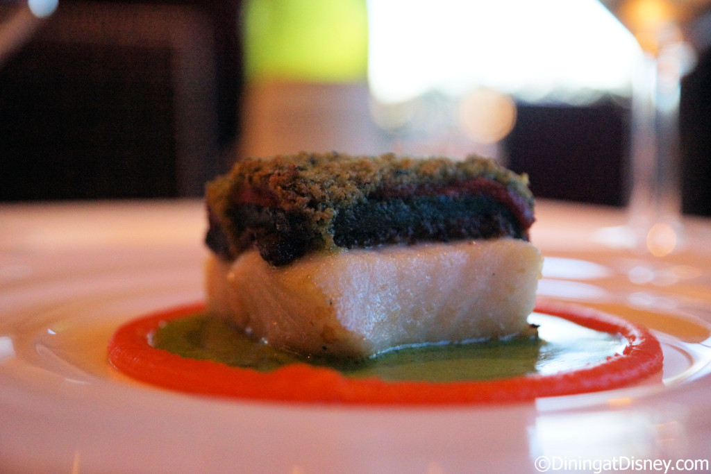 Spinach, Mushroom Duxelle and Tomato Encrusted Chilean Sea Bass at Bull & Bear - Waldorf Astoria Orlando