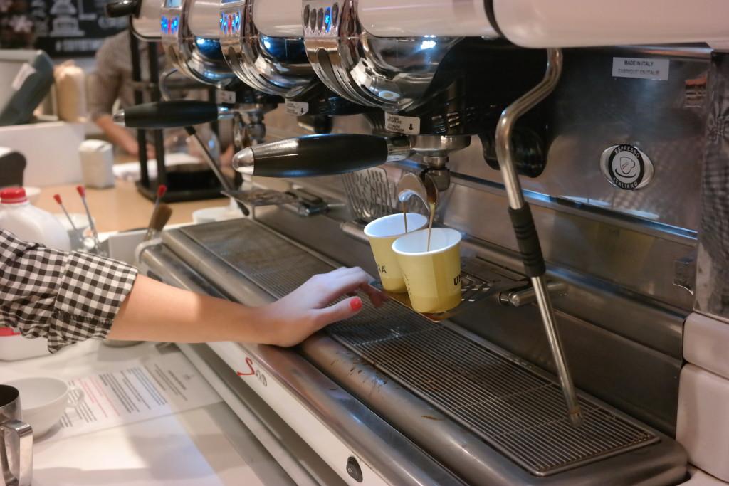 Making espresso at Lickety Split Barista Bootcamp