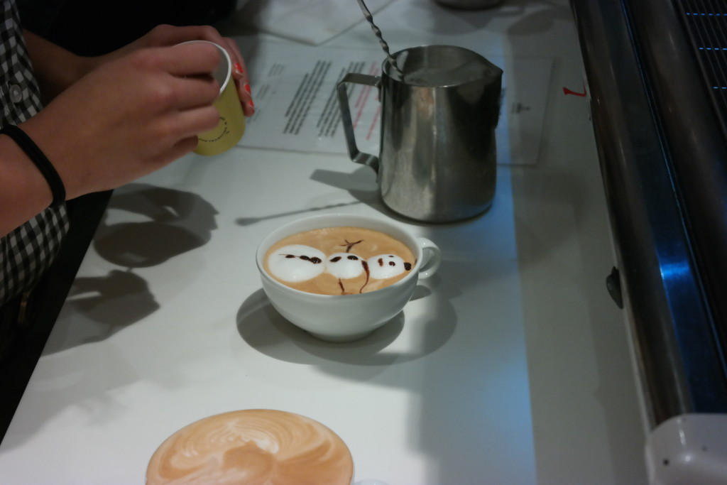A beautiful snowman on a cappuccino at Lickety Split Barista Bootcamp