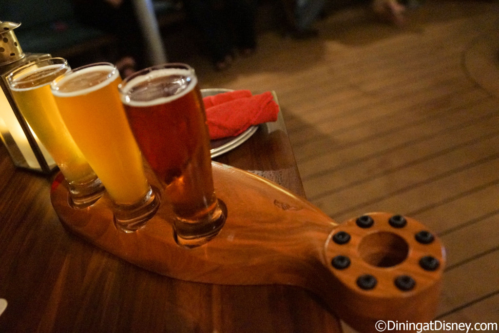 The beer flight from Jock Lindsey's Hangar Bar in Disney Springs