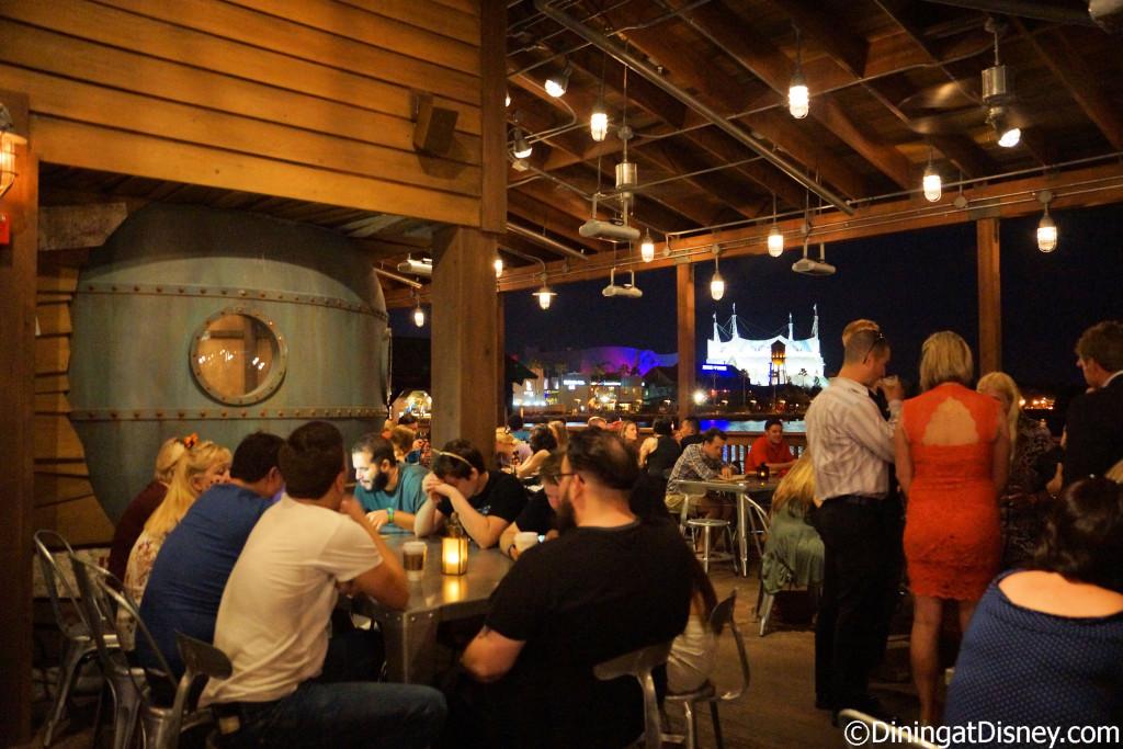 Outside seating area Jock Lindsey's Hangar Bar in The Landing at Disney Springs