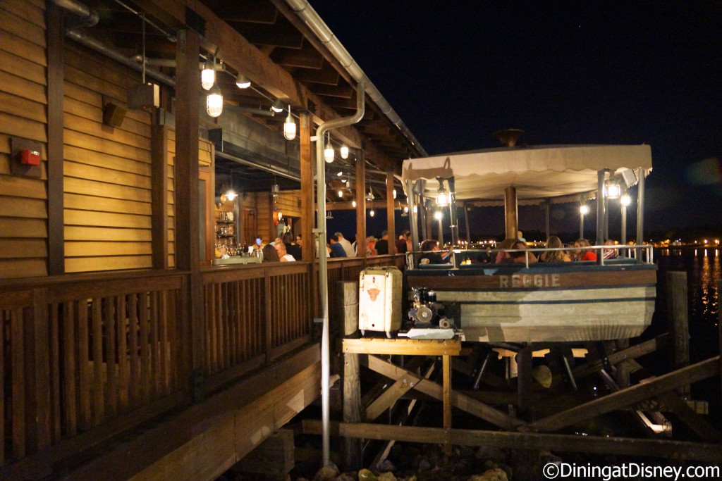 Jock Lindsey's boat - Reggie, named for his pet snake offers additional seating at Jock Lindsey's Hangar Bar in The Landing at Disney Springs