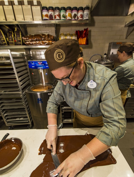Guests can see Cast Members making chocolate at The Ganachery at Disney Springs