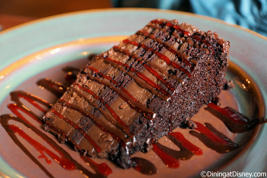 Chocolate Pudding Cake with raspberry sauce at Yak & Yeti Restaurant in Disney's Animal Kingdom