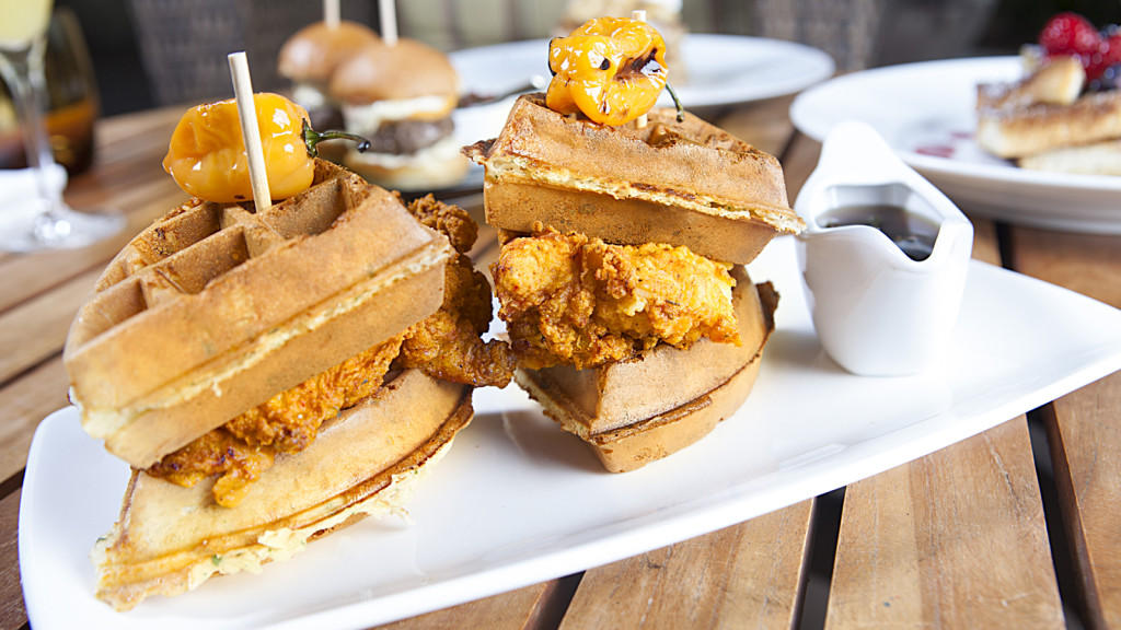 Chicken and Waffle Sandwich is one of the items on Sunday Brunch - Plancha at Four Seasons Orlando