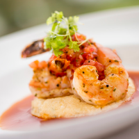Shrimp and Grits, Gulf White Shrimp with Tillamook Cheddar Grits, Spicy Tomato Broth, Espellette-Spiced Tomato Ragout - Sunday Brunch at California Grill