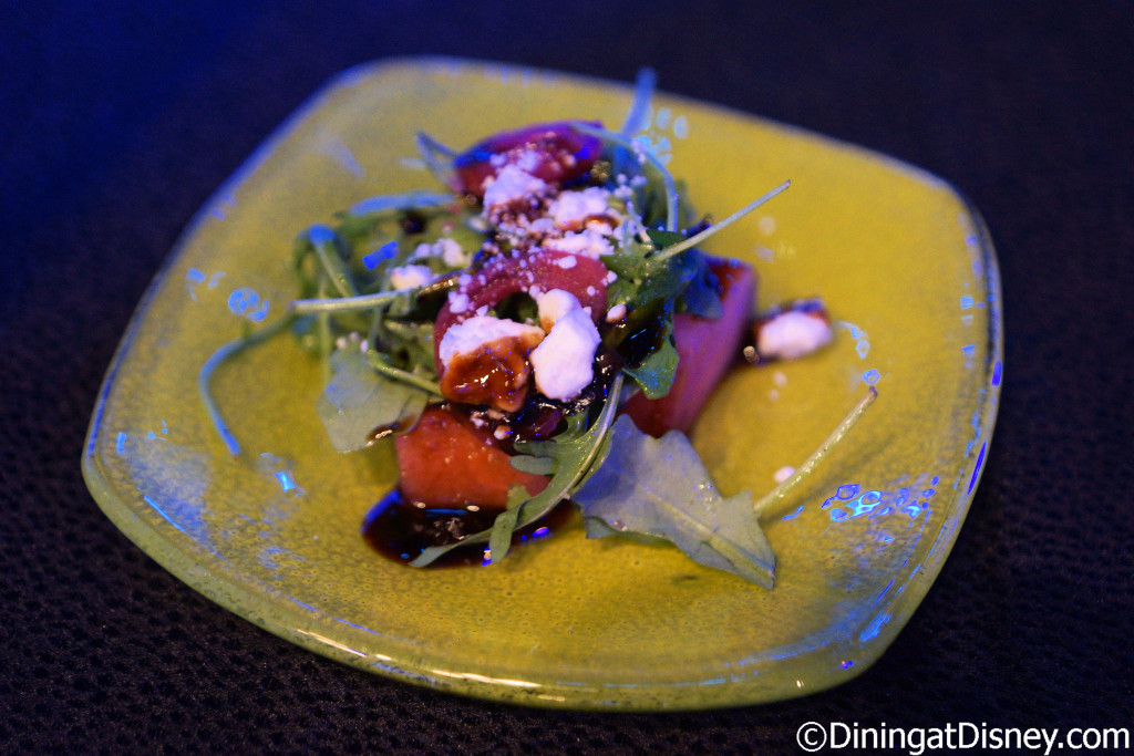 Watermelon Salad with pickled onions, B&W Gourmet Farms baby arugula, feta and balsamic reduction from Urban Farm EATS at the 2016 Epcot Flower & Garden Festival food and beverage preview