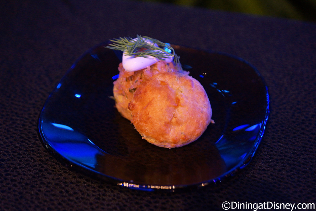 House-made Potato and Cheddar Cheese Biscuit with smoked salmon tartare from Cider House at the 2016 Epcot Flower & Garden Festival food and beverage preview