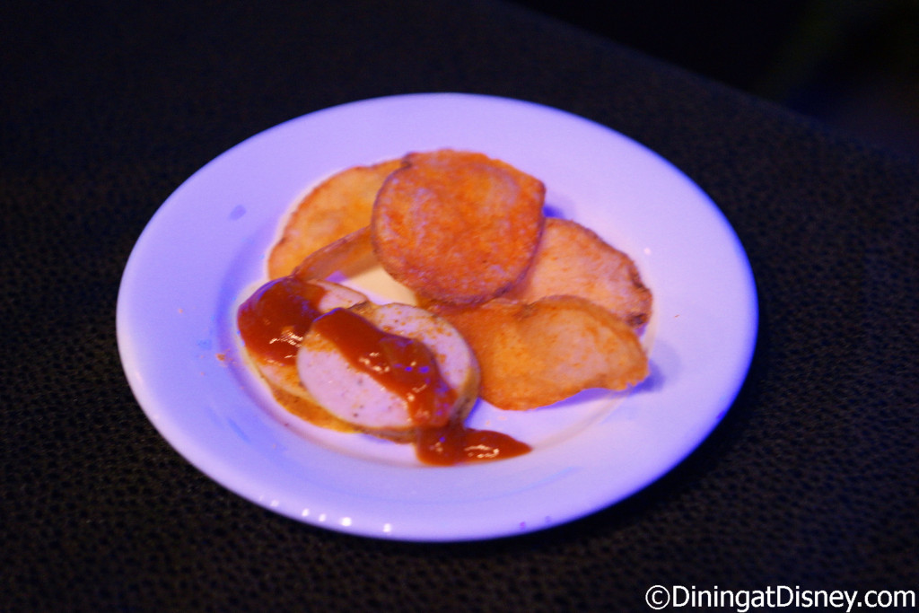 Currywurst with paprika chips at Bauernmarkt: Farmer's Market at the 2016 Epcot Flower & Garden Festival food and beverage preview