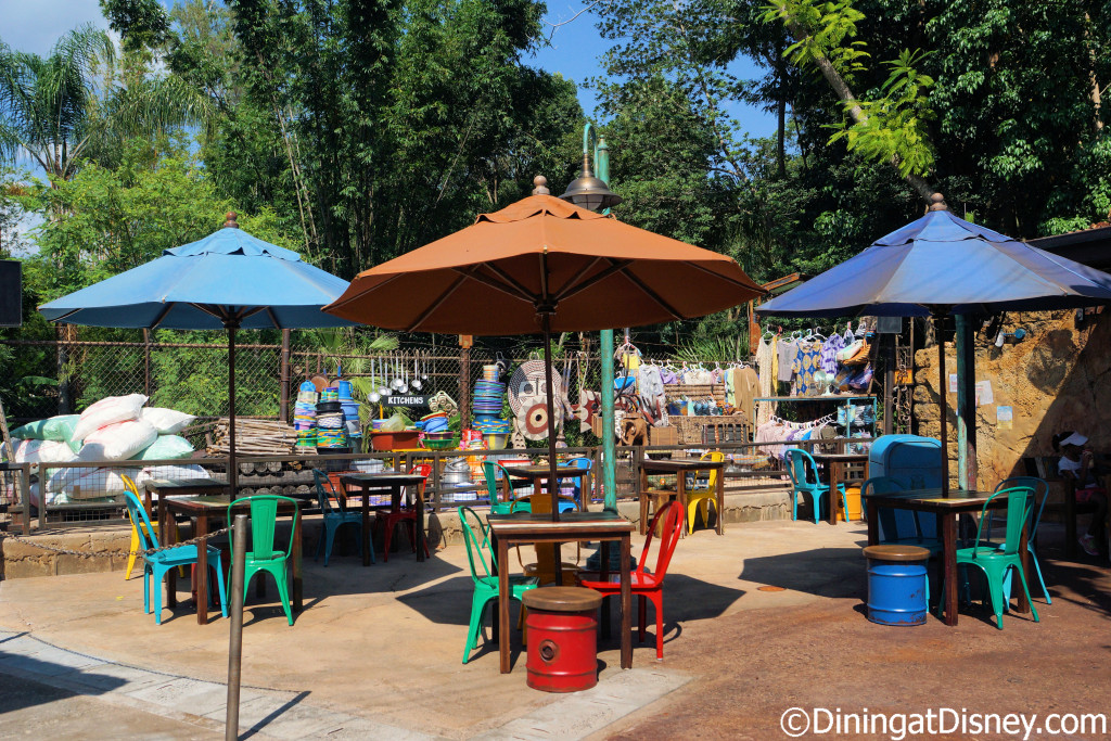 There is plenty of seating at Harambe Market in Africa at Disney's Animal KIngdom