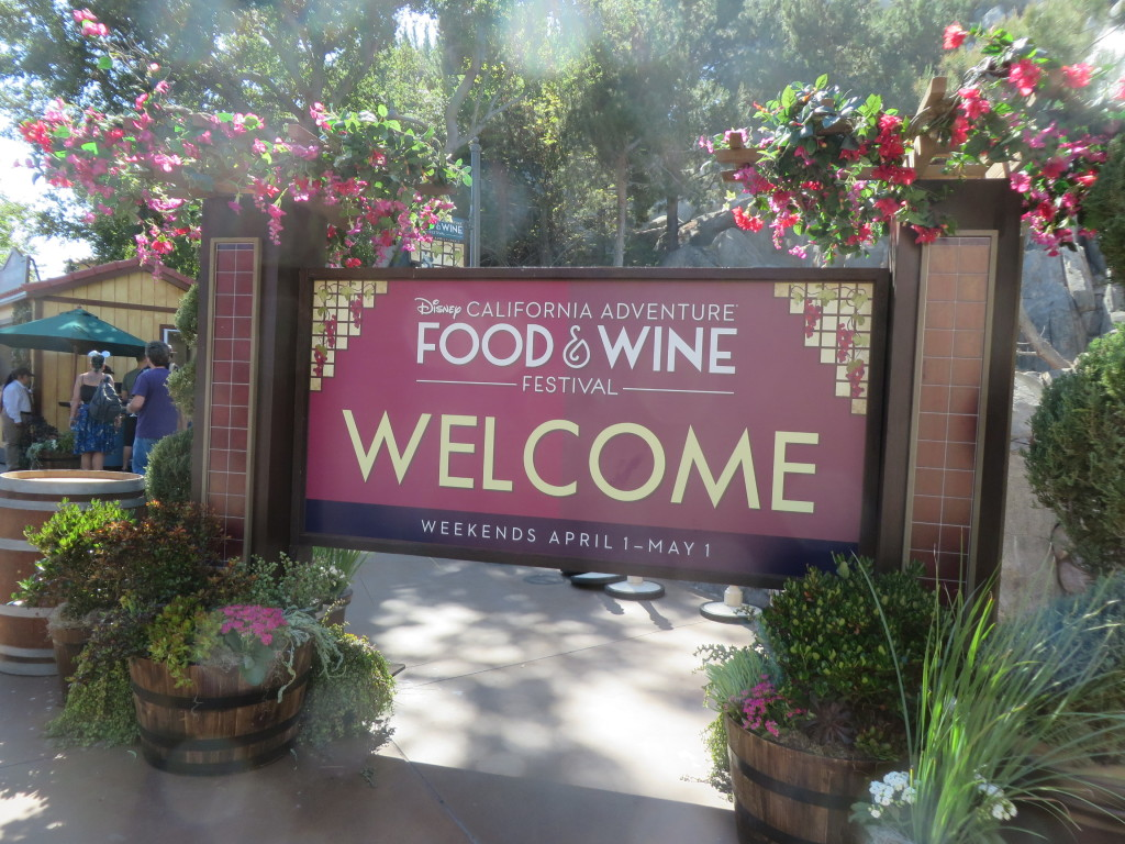 Disney California Adventure Food and Wine Festival welcome sign