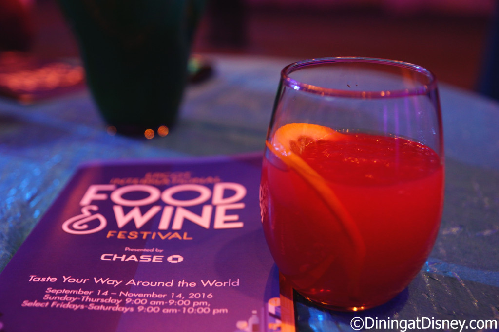 Spiked orange ice tea was given to use as we entered the Epcot Food & Wine Festival 2016 preview