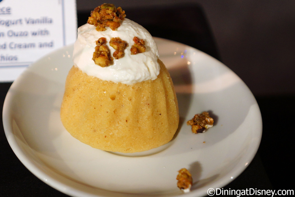 Oikos Greek Yogurt Vanilla Cake soaked in Ouzo with yogurt whipped cream and pistachios (Greece) - 2016 Epcot Food and Wine Festival