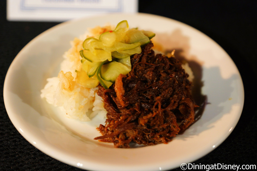Korean-style BBQ Beef with steamed rice and cucumber kimchi (South Korea) - 2016 Epcot Food and Wine Festival