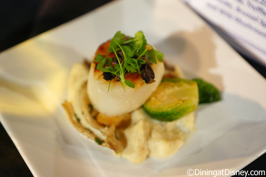 Seared Scallop with truffled celery root puree, brussel sprouts and wild mushrooms (Wine & Dine Studio) - Epcot Food & Wine Festival 2016