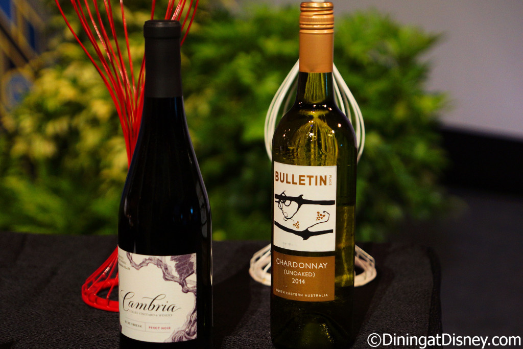 Cambria pinot noir and Bulletin Chardonnay at 2016 Epcot Food and Wine Festival
