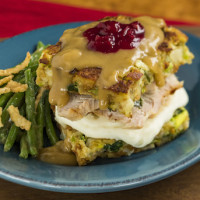 Slow-roasted turkey with stuffing, mashed potatoes and cranberry sauce - Epcot Holidays Around the World
