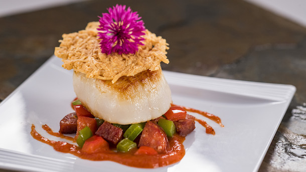 Pan-Seared Scallop with Chorizo, Roasted Red Pepper Coulis and a Parmesan Crisp from The Artist's Table at Epcot Festival of the Arts