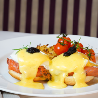 Three versions of Eggs Benedict at Steakhouse 55