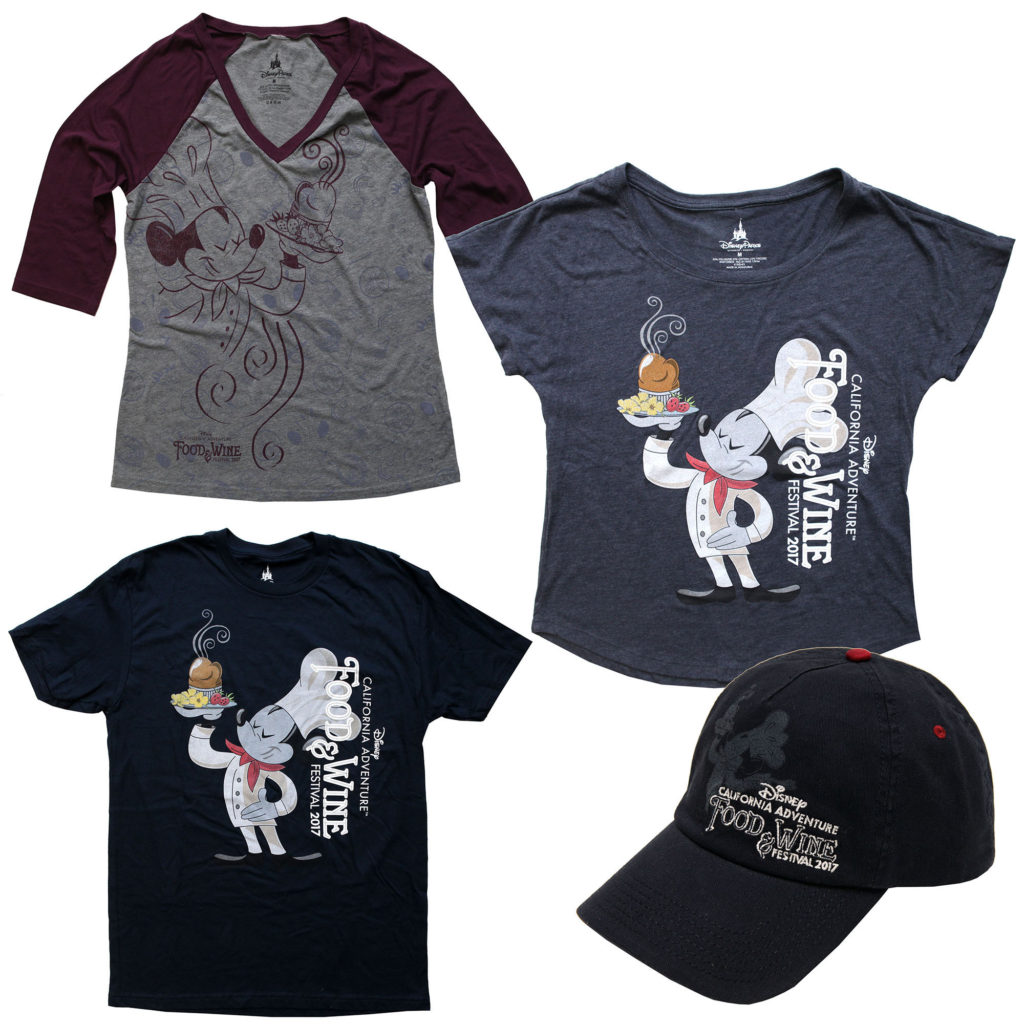 T-shirts and hats will be available at the Disney California Adventure Food and Wine Festival 2017