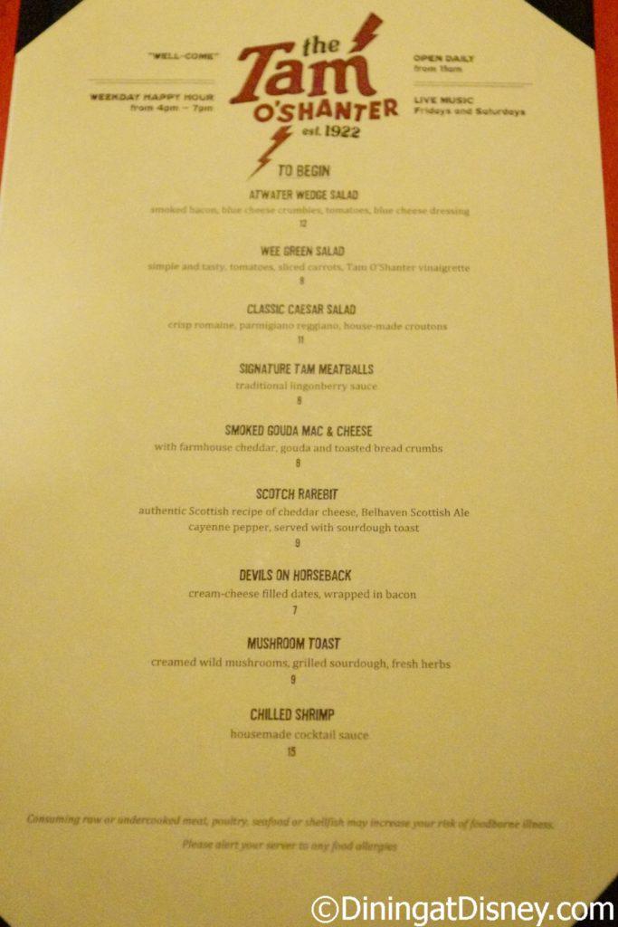Tam O'Shanter's starter menu