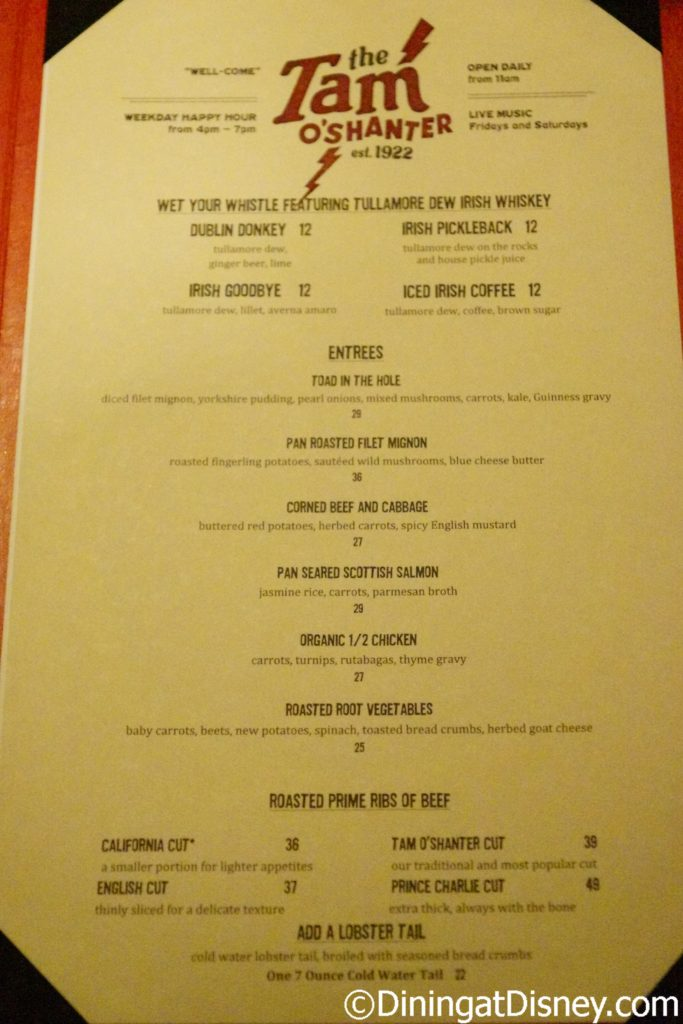 Tam O'Shanter's entree menu for St. Paddy's Day