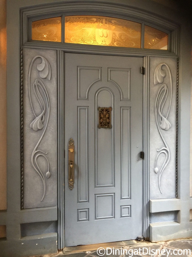 The door to the exclusive Club 33 in New Orleans Square at Disneyland Park