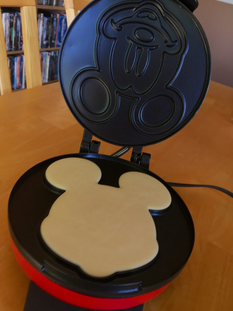 Pour the mix into your Mickey Waffle maker